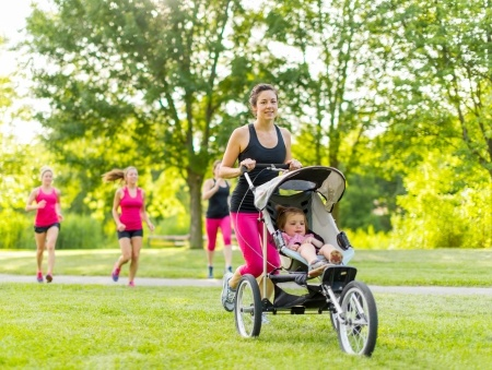 running in a jogging stroller